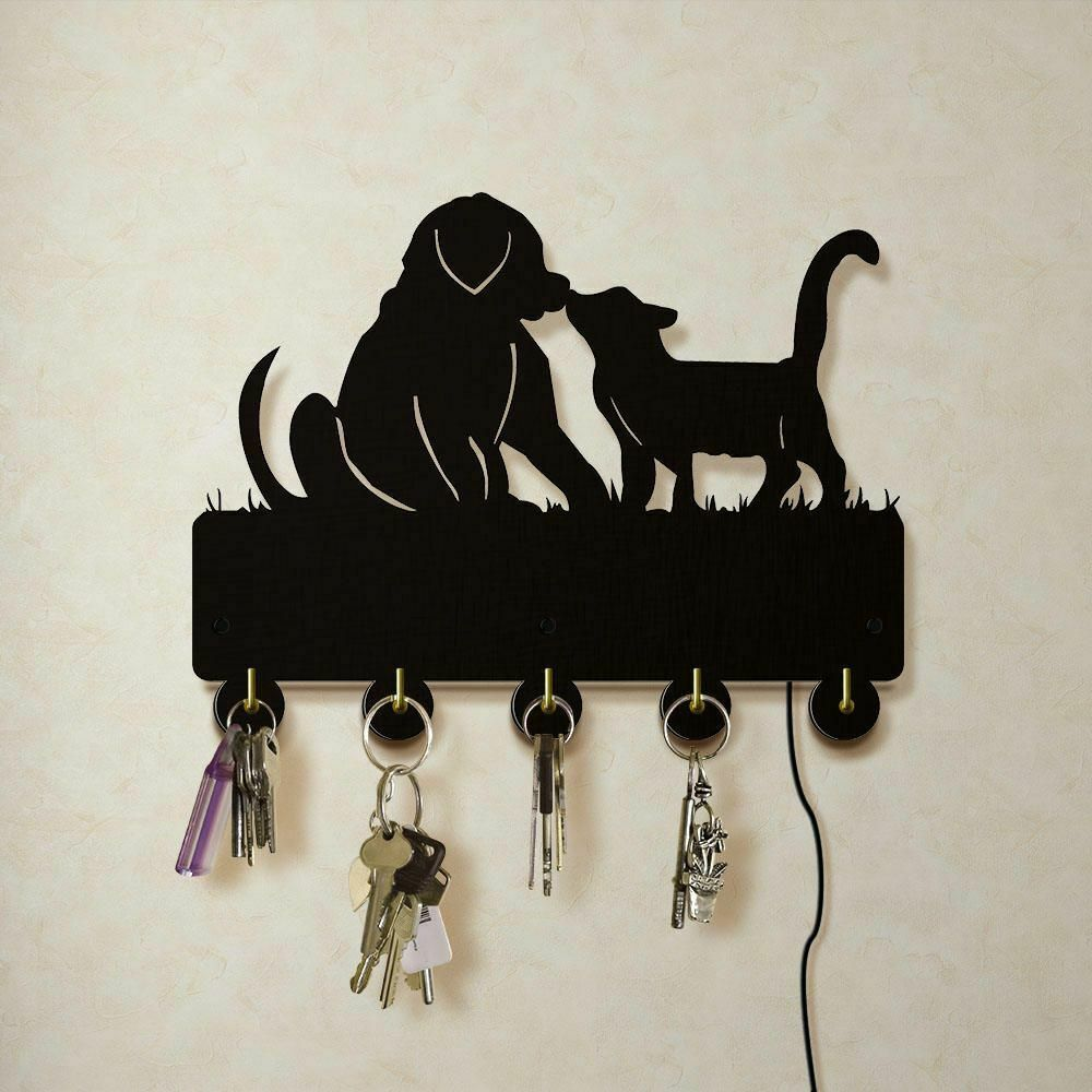 Primary image for Dog And Cat LED Wall Hook Keys Handbags Hanger Clothes Rack for Animals Lovers