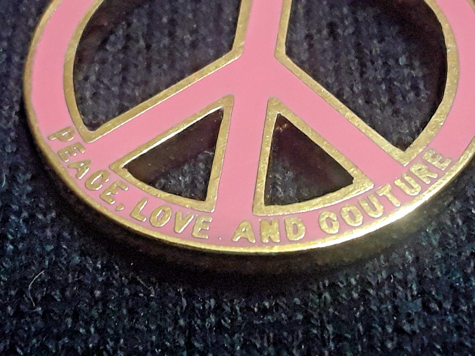 NEW Juicy Couture Pink Enamel Clear Rhinestone Double Sided Peace Sign Charm