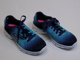 Skechers 6 M GO Walk 3 Gogo Mat Womens NEW Pulse Sneakers Blue Laces NEW... - $39.99