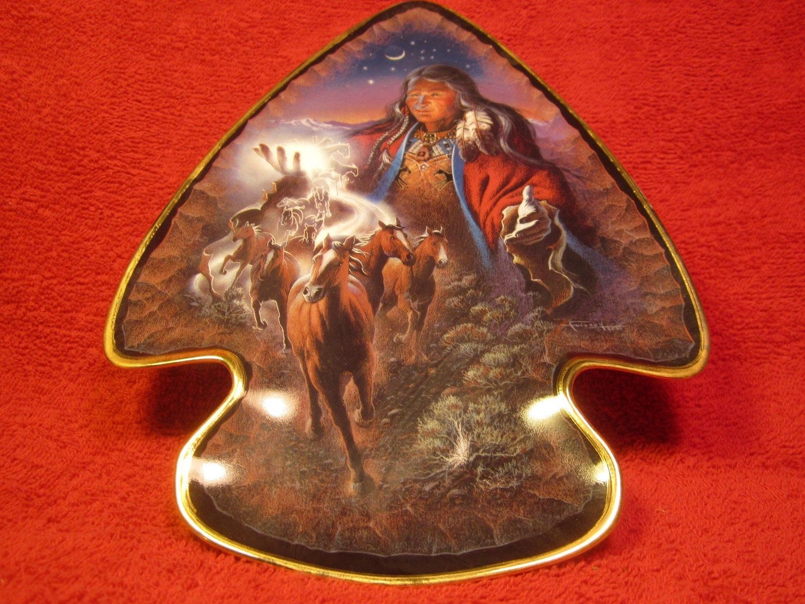 """9.5"""" PORCELAIN Collector Plate SPIRIT OF THE MUSTANG Franklin Mint FRIZZELL [Z6] - $29.51"""