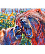 Growling mamma Grizzly bear and cub abstract art print original animals ... - $9.99