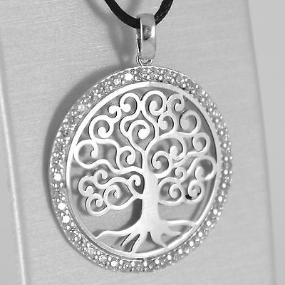 18K WHITE GOLD TREE OF LIFE PENDANT, 1.22 INCHES, ZIRCONIA, MADE IN ITALY
