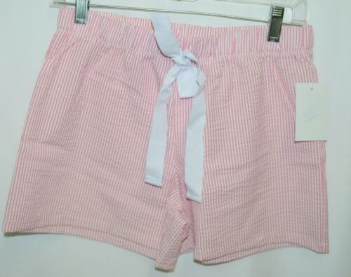 Ellie O Womens Seersucker Lounge Shorts Pink Stripe Size Small