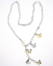SILVER 925 NECKLACE, CHAIN OVAL, PENDANT WITH BUTTERFLIES YELLOW AND WHITE image 2