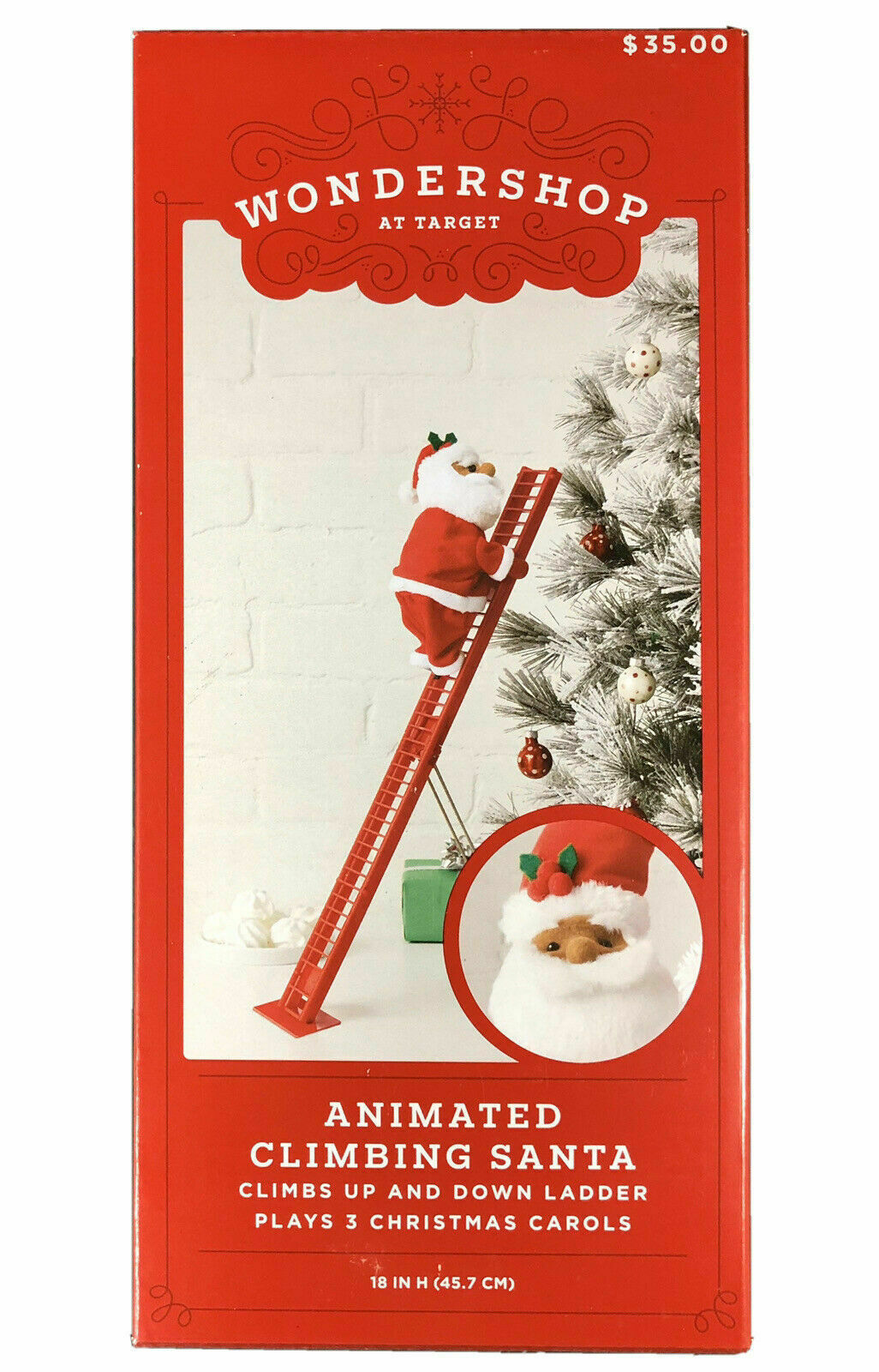 "Animated Climbing Santa By Wondershop Plays 3 Christmas Carols 18""  New NIB"