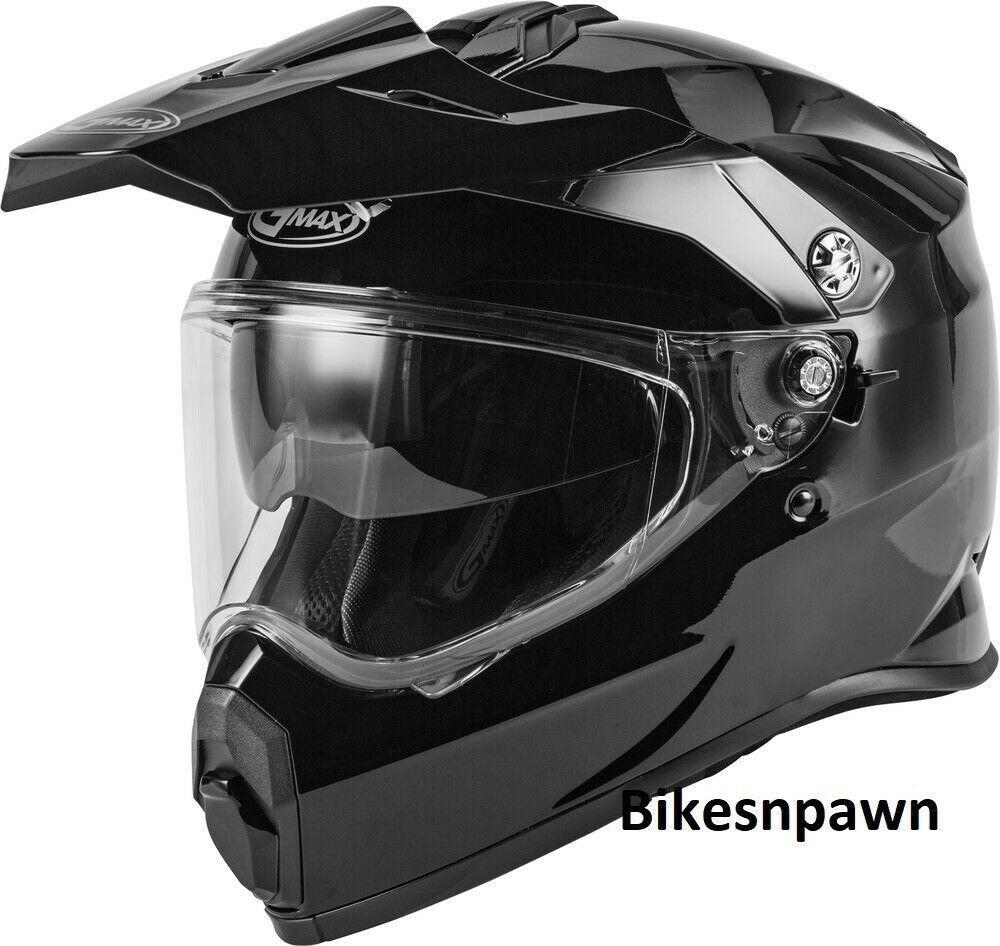 New Adult XL Gmax AT-21 Gloss Black Adventure Offroad Helmet DOT/ECE