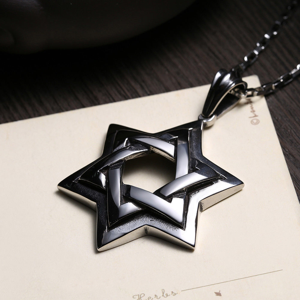Primary image for 925 Sterling Silver Star Of David Pendant Charm Necklace Chain 16""