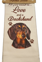 Dachshund Kitchen Dish Towel Dog Blk Doxie All You Need Is Love Pet Cott... - $11.49