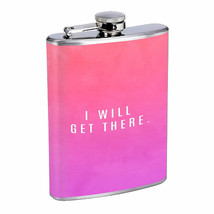 I Will Get There Em1 Flask 8oz Stainless Steel Hip Drinking Whiskey - $13.81