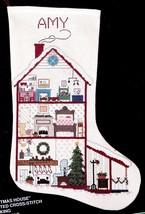 Vintage Bucilla Christmas House Doll House Cross Stitch Stocking Kit 82432 R - $78.95
