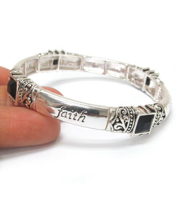 Primary image for FAITH Inspirational Bangle Bracelet Silver NEW