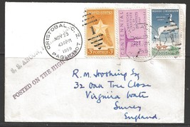 1959 Paquebot cover, USA stamps used in Cristobal, Canal Zone - $5.00