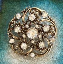 Coro - Vintage Estate Sale Gold Finish Coro 1950's Rhinestone Brooch - $39.00