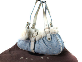 Authentic CELINE Canvas Leather Light Blue Shoulder Bag CB12554L - $140.00