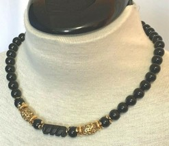 """1928 Jewelry Black Beads and Gold Tone Filagree Necklace 18"""" Choker - $18.95"""