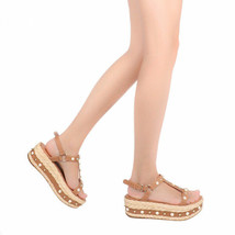 New Stuart Weitzman Beraffia Studded Platform Espadrille Sandals Open To... - $328.80