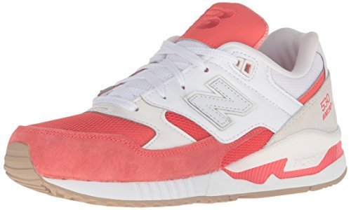 New Balance Women's W530 Classic Running Fashion Sneaker, Coral Glow/White, 7 B