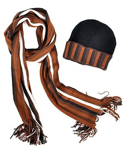 New Unisex Multi Brown Striped Acrylic Winter Set Scarf And Hat - SCFH200