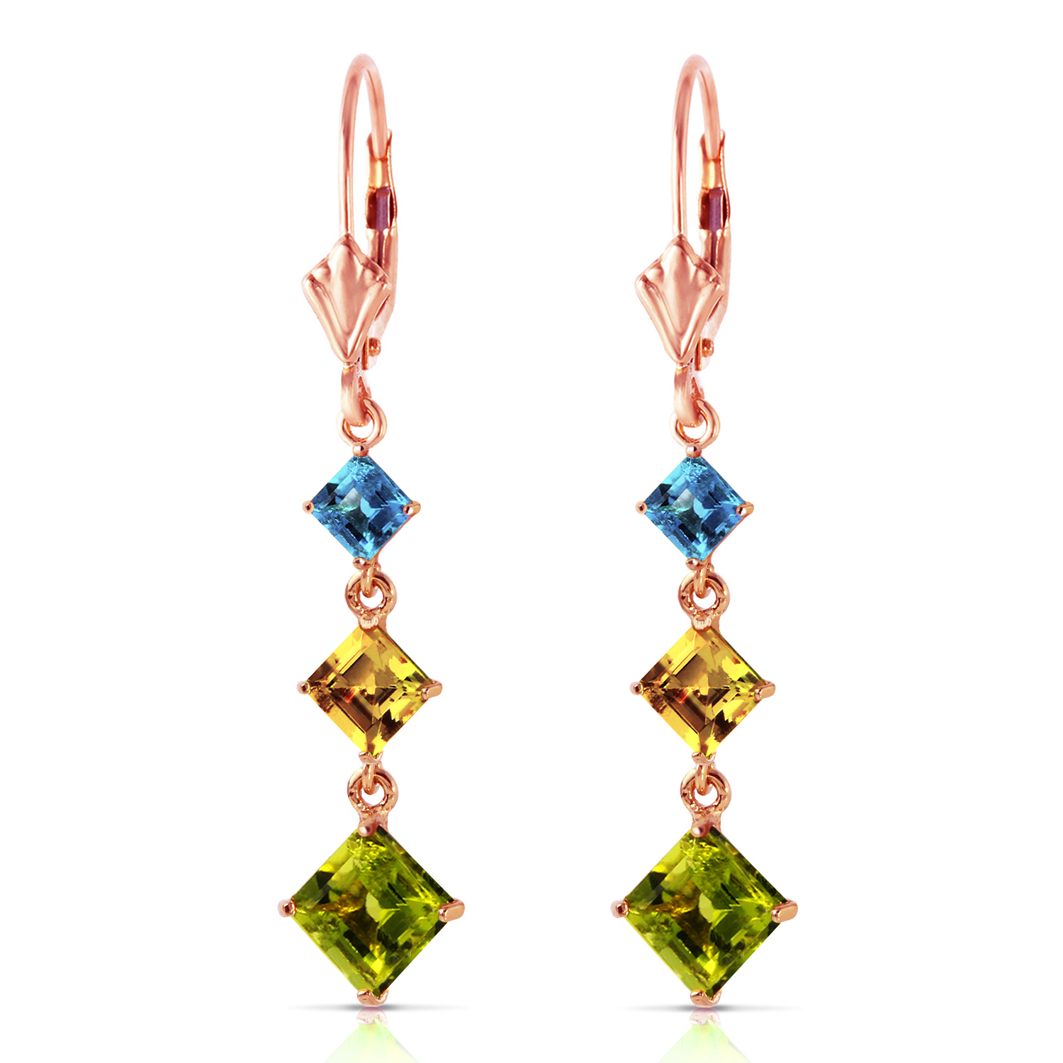 Primary image for 4.8 Carat 14K Solid Rose Gold Chandelier Earrings Blue Topaz, Citrine Peridot