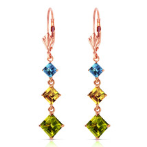 4.8 Carat 14K Solid Rose Gold Chandelier Earrings Blue Topaz, Citrine Peridot - $437.44