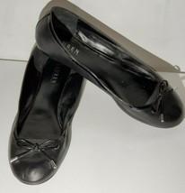 Lauren Ralph Lauren Black Leather Ballet Flats Shoes 10 Slip Ons w/Bows ... - $24.70
