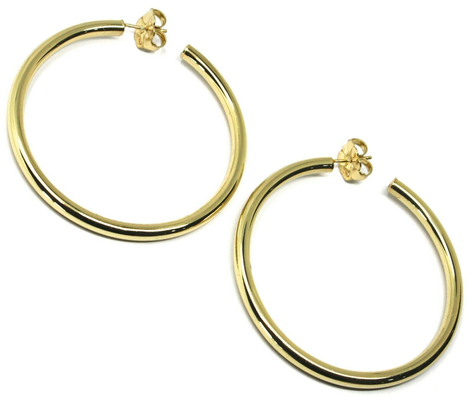 925 STERLING SILVER CIRCLE HOOPS BIG EARRINGS, 6 cm x 4 mm, YELLOW, SMOOTH
