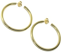 925 STERLING SILVER CIRCLE HOOPS BIG EARRINGS, 6 cm x 4 mm, YELLOW, SMOOTH image 1