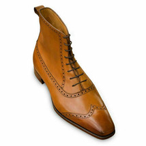 Men's Brown Wing Tip Lace Up Formal Leather High Ankle Handmade Dress Boots - $159.99