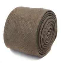 Frederick Thomas Designer Linen Mens Tie - Brown - Plain Skinny Textured... - $15.89