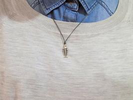 Fish Bone 925 Sterling Silver Necklace Chain Jewelry Fashion Men Women Pendant - $33.66