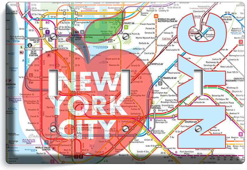 NYC NEW YORK CITY BIG APPLE SUBWAY MAP LIGHT SWITCH OUTLES WALL PLATE ROOM DECOR image 10