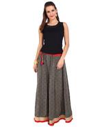 Black & White Jaipuri Skirt with Golden Border - SNY18234 - $25.75