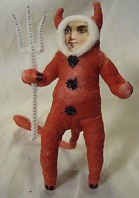 Vintage Inspired Spun Cotton Devil Boy Ornament Halloween!No. 227