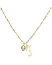 Disney Parks Mickey Mouse Faux Gem Icon Letter Initial T Necklace Gold Color - $28.90