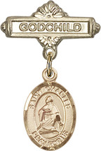 14K Gold Baby Badge with St. Charles Borromeo Charm Pin 1 X 5/8 inch - $446.25