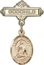 14K Gold Baby Badge with St. Charles Borromeo Charm Pin 1 X 5/8 inch - $425.00