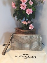 Coach 46914 Silver Metallic Wristlet Bag Gathered Madison Leather Clutch... - $116.09