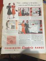 1940 white Frigidaire electric range stove cooking a lot of fun ad Vintage - $15.04