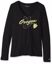Champion NCAA Oregon Ducks Women's University Long Sleeve V-Neck Tee, Large, Bla - $13.09