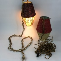 VTG Mid Century Modern Hanging Swag Light Fixture Red Brown Boho Hippie ... - $132.65