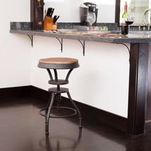 "Iron Bar Stool 24""-31"" Height Adjustable Industrial Swivel Kitchen Count... - $114.98"