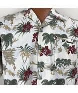 St. Thomas Hawaiian Aloha Medium Shirt Hula Palm Trees Tiki Hut Floral - $29.69
