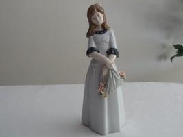 "Nadal Spain Spanish Porcelain Flowers in Cloth Girl Figurine 10"" DEFECT ... - $14.99"