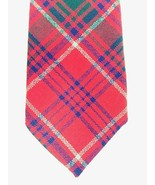 Great Scot Tartan Tie Grant Clan Red Dark Green Light Blue 100% Wool Sco... - $24.14