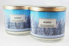 (2) Bath & Body Works Winter w/ Essential Oils 3-wick Scented Candle 14.5oz - $39.58