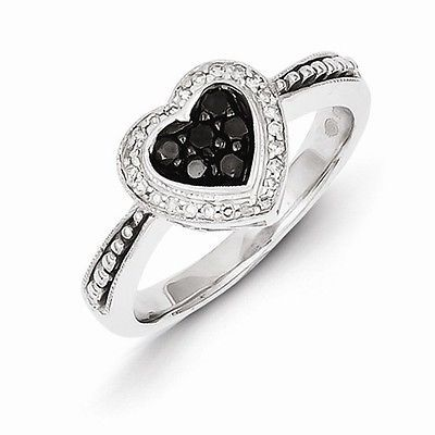 STERLING SILVER BLACK AND WHITE DIAMOND HEART  RING - SIZE 8