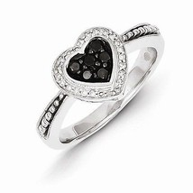 STERLING SILVER BLACK AND WHITE DIAMOND HEART  RING - SIZE 8 - $337.48