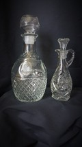 2 Vintage Clear Crystal Cut Glass Small & Large Decanters w/ Stopper win... - $54.45