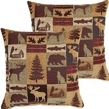 17x17 Brown Nature Theme Throw Pillow Cabin Lodge Pattern Sofa Pillow Mo... - $102.99