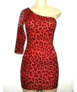 ❤️SYMPHONY Cheetah Red Bodycon Dress Stretch Studded Shoulder Medium NEW... - $23.74